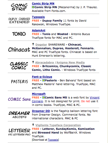 loads of free comic fonts even roy lichtenstein style