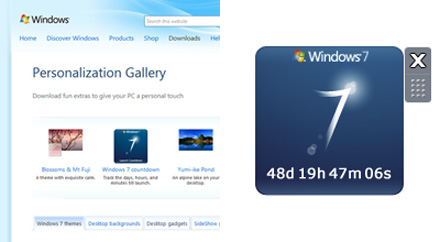 Windows 7 countdown gadget